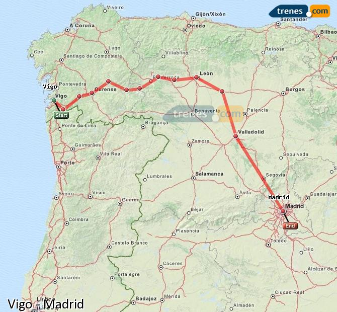 Karte vergrößern Züge Vigo Madrid