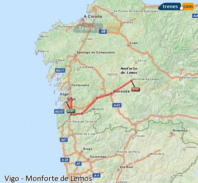 Enlarge map Trains Vigo to Monforte de Lemos