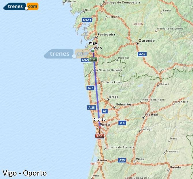 Ampliar mapa Comboios Vigo Oporto