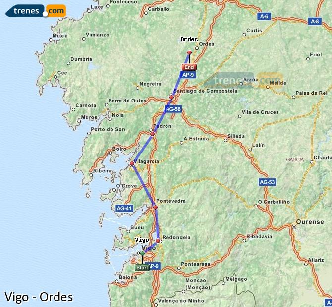 Ampliar mapa Comboios Vigo Ordes