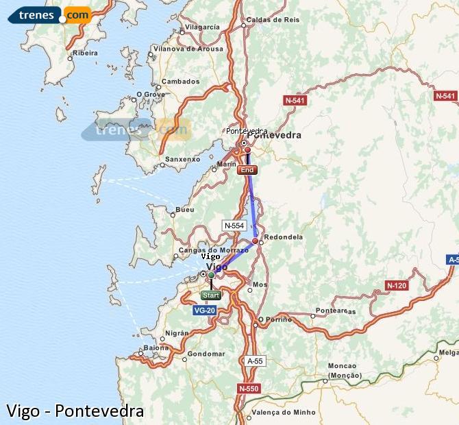Agrandir la carte Trains Vigo Pontevedra