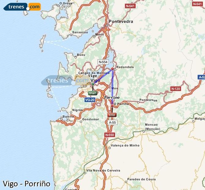 Karte vergrößern Züge Vigo Porriño