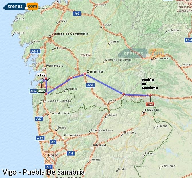 Enlarge map Trains Vigo to Puebla De Sanabria