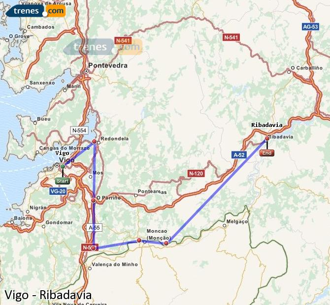 Enlarge map Trains Vigo to Ribadavia