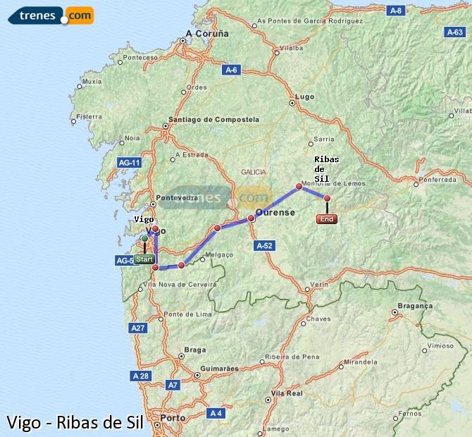 Ampliar mapa Comboios Vigo Ribas de Sil