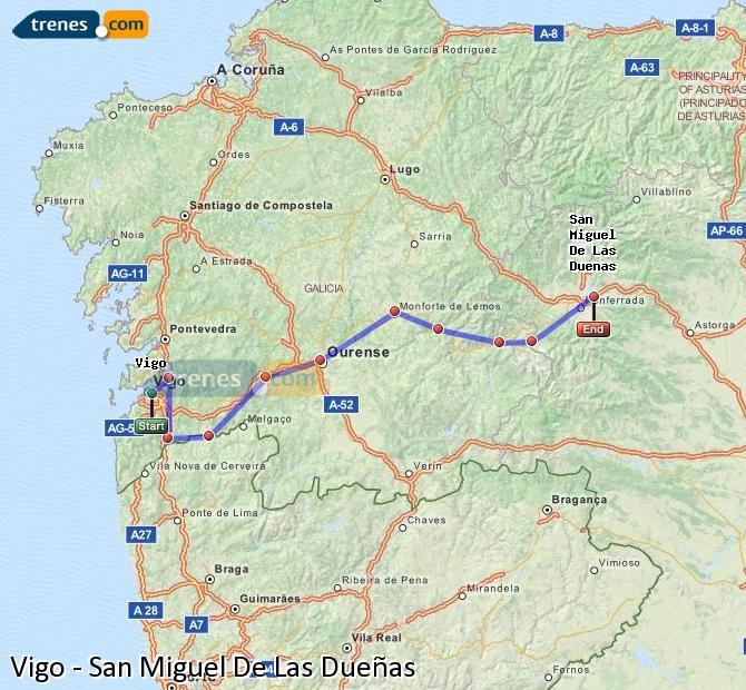 Karte vergrößern Züge Vigo San Miguel De Las Dueñas