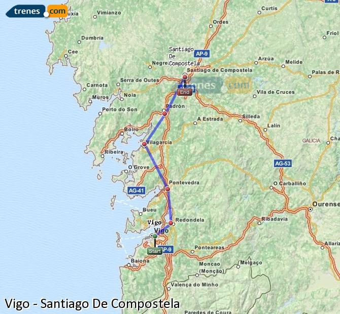 Agrandir la carte Trains Vigo Santiago De Compostela