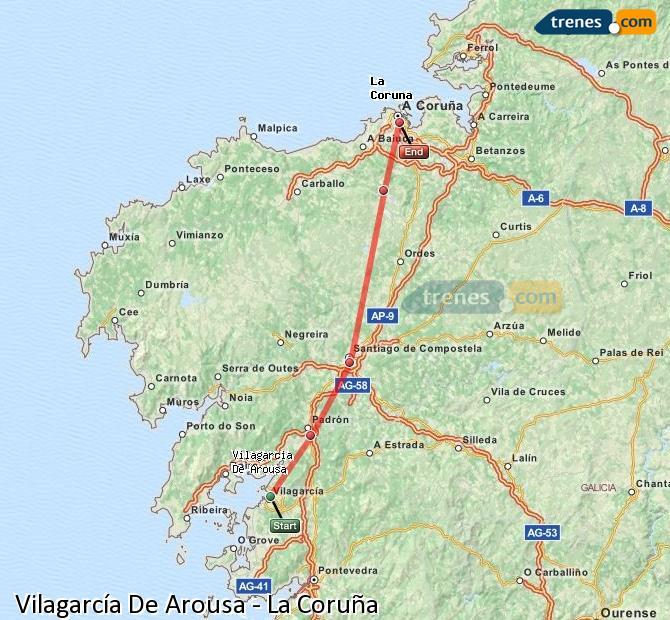 Agrandir la carte Trains Vilagarcía De Arousa La Coruña