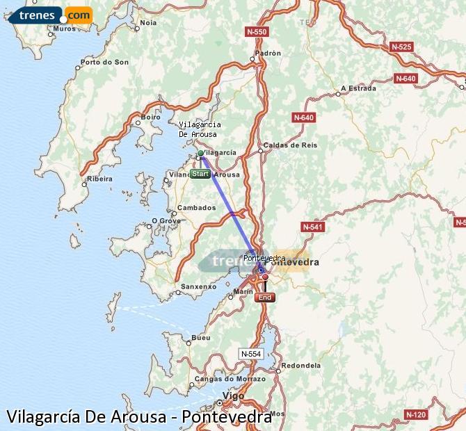Enlarge map Trains Vilagarcía De Arousa to Pontevedra