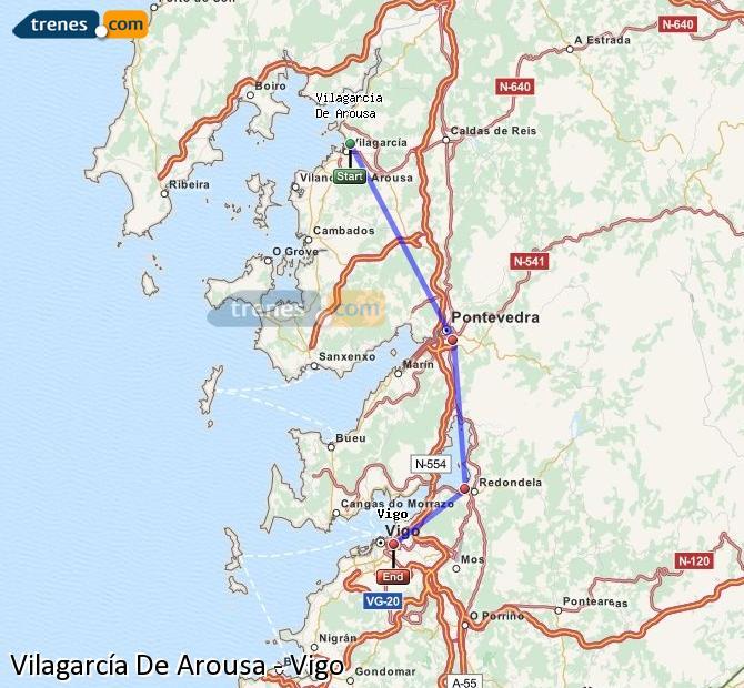 Ampliar mapa Comboios Vilagarcía De Arousa Vigo