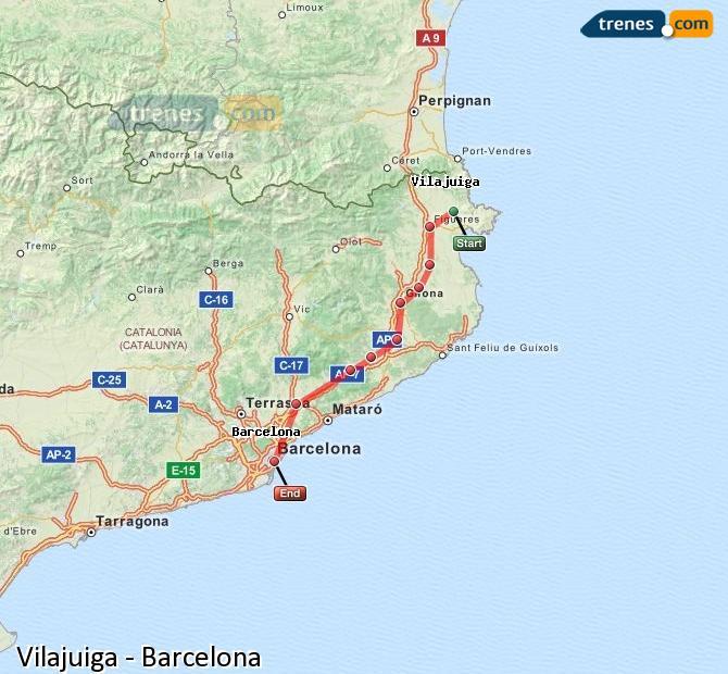 Karte vergrößern Züge Vilajuiga Barcelona