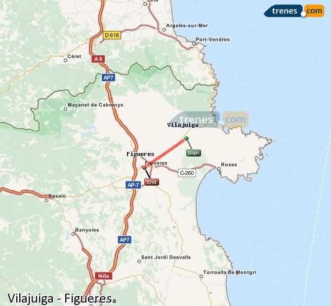 Agrandir la carte Trains Vilajuiga Figueres