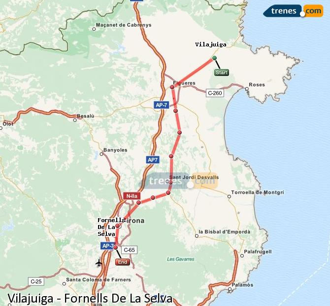 Enlarge map Trains Vilajuiga to Fornells De La Selva