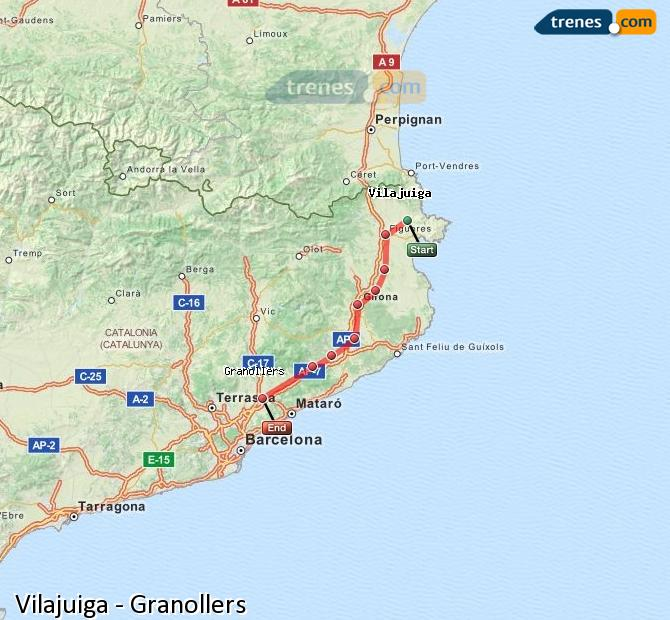 Enlarge map Trains Vilajuiga to Granollers
