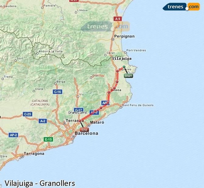 Agrandir la carte Trains Vilajuiga Granollers