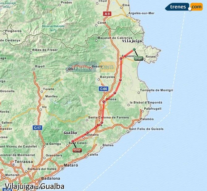 Enlarge map Trains Vilajuiga to Gualba