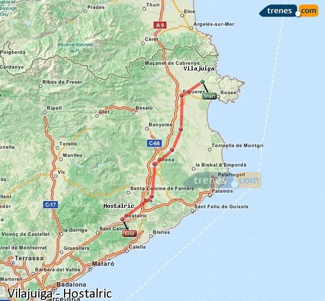 Karte vergrößern Züge Vilajuiga Hostalric