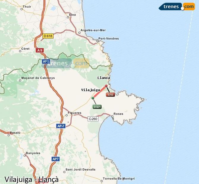 Ingrandisci la mappa Treni Vilajuiga Llançà
