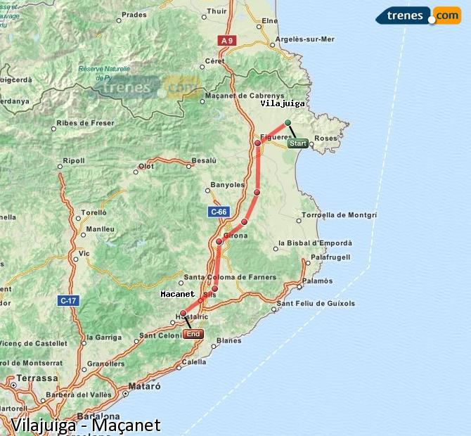 Ingrandisci la mappa Treni Vilajuiga Maçanet