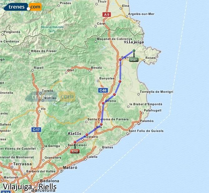 Enlarge map Trains Vilajuiga to Riells