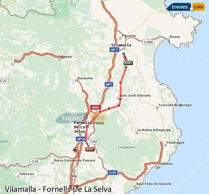 Ingrandisci la mappa Treni Vilamalla Fornells De La Selva