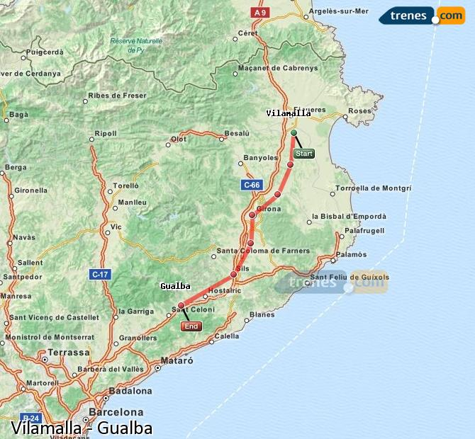Karte vergrößern Züge Vilamalla Gualba
