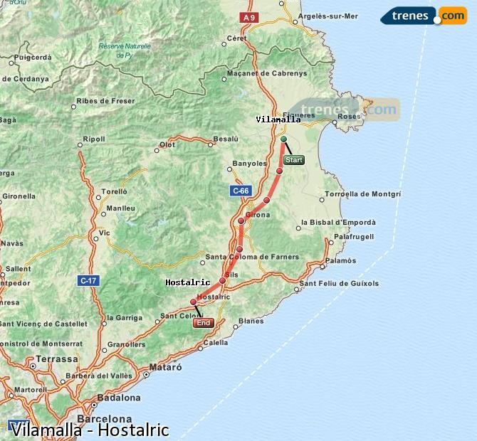 Ingrandisci la mappa Treni Vilamalla Hostalric