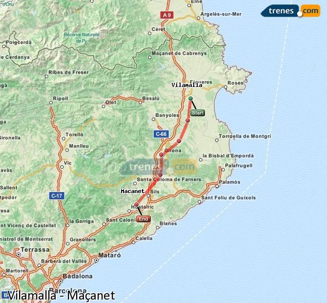 Ingrandisci la mappa Treni Vilamalla Maçanet