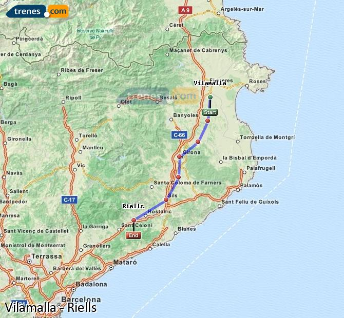 Karte vergrößern Züge Vilamalla Riells