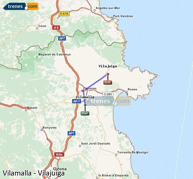 Karte vergrößern Züge Vilamalla Vilajuiga