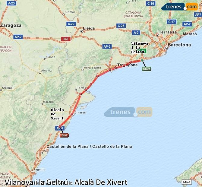 Enlarge map Trains Vilanova i la Geltrú to Alcalà De Xivert