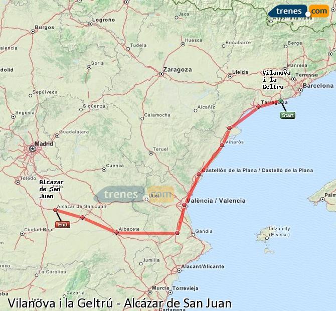 Ampliar mapa Trenes Vilanova i la Geltrú Alcázar de San Juan