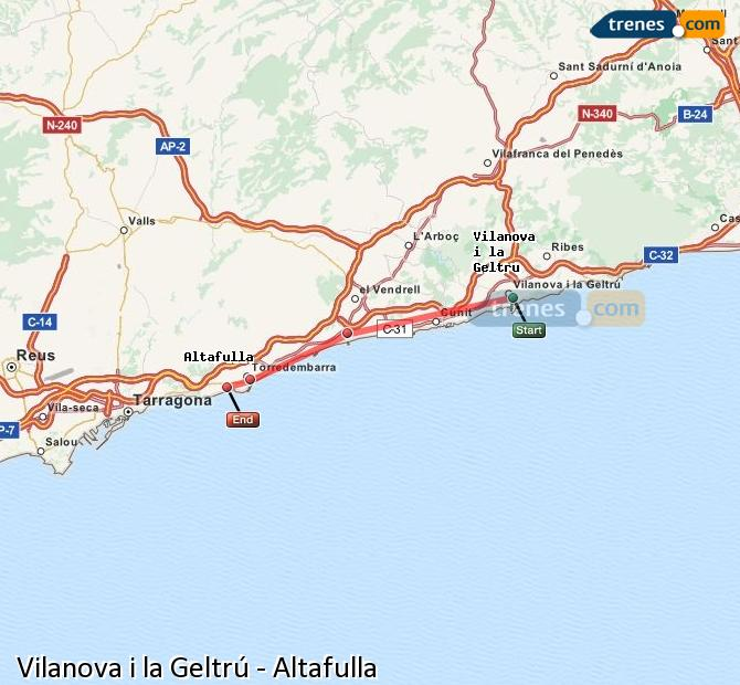 Ampliar mapa Trenes Vilanova i la Geltrú Altafulla