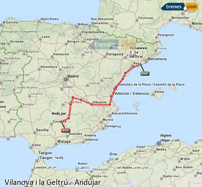 Enlarge map Trains Vilanova i la Geltrú to Andújar