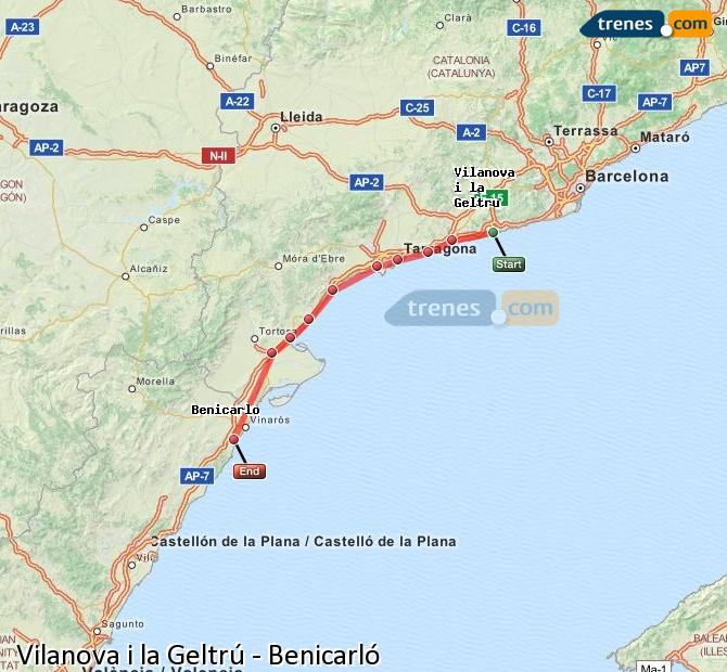 Enlarge map Trains Vilanova i la Geltrú to Benicarló