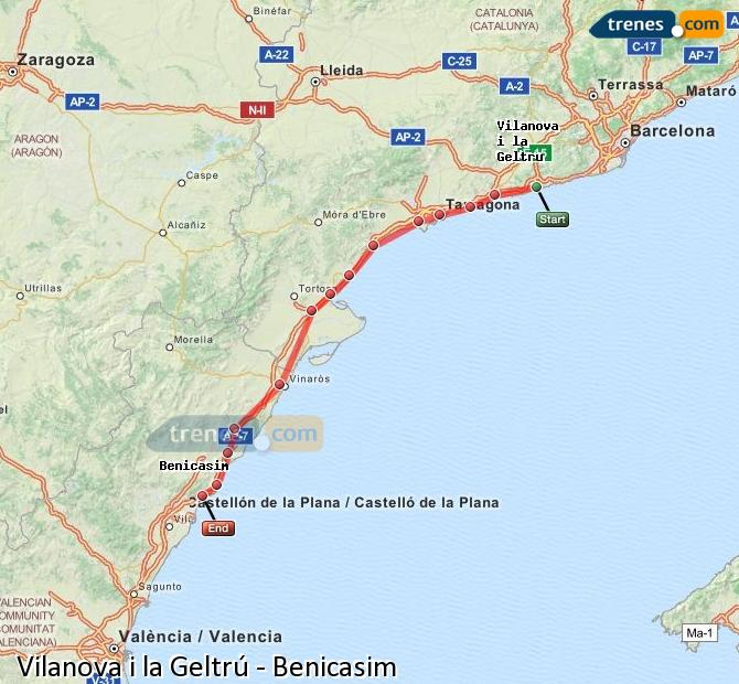 Ingrandisci la mappa Treni Vilanova i la Geltrú Benicasim