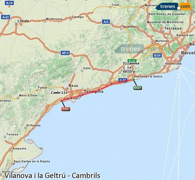 Enlarge map Trains Vilanova i la Geltrú to Cambrils