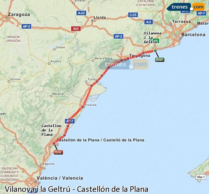 Enlarge map Trains Vilanova i la Geltrú to Castellón