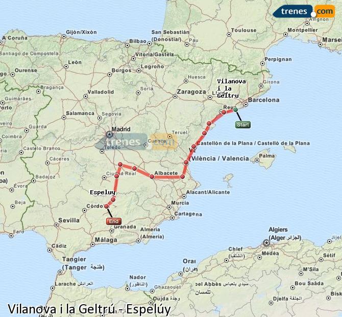 Enlarge map Trains Vilanova i la Geltrú to Espelúy