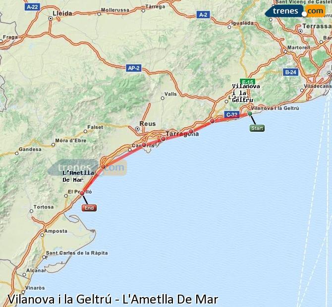 Karte vergrößern Züge Vilanova i la Geltrú L'Ametlla De Mar