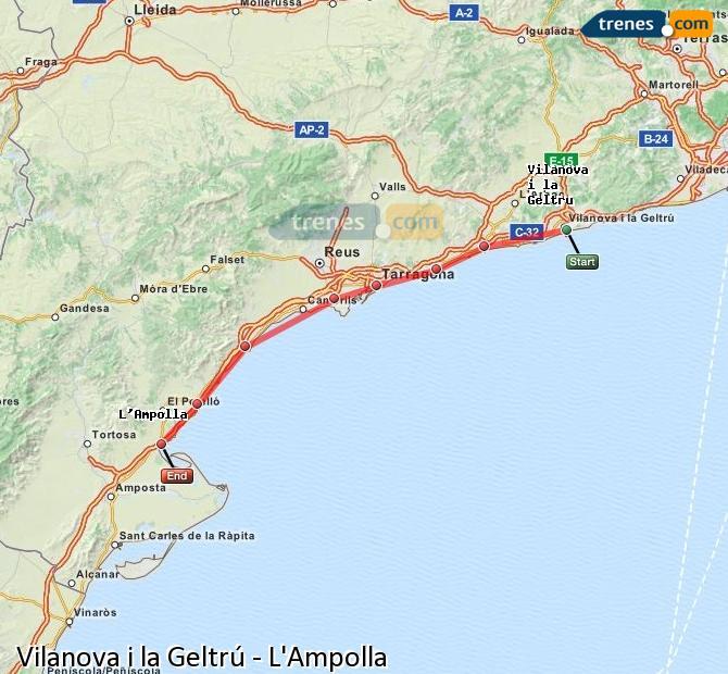 Ingrandisci la mappa Treni Vilanova i la Geltrú L'Ampolla