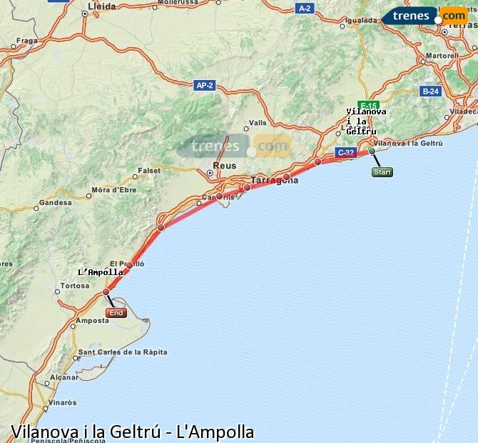 Enlarge map Trains Vilanova i la Geltrú to L'Ampolla