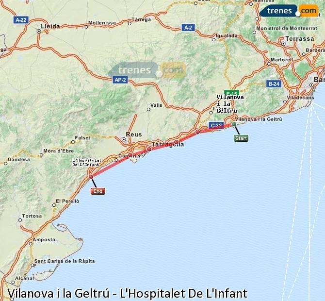 Ingrandisci la mappa Treni Vilanova i la Geltrú L'Hospitalet De L'Infant