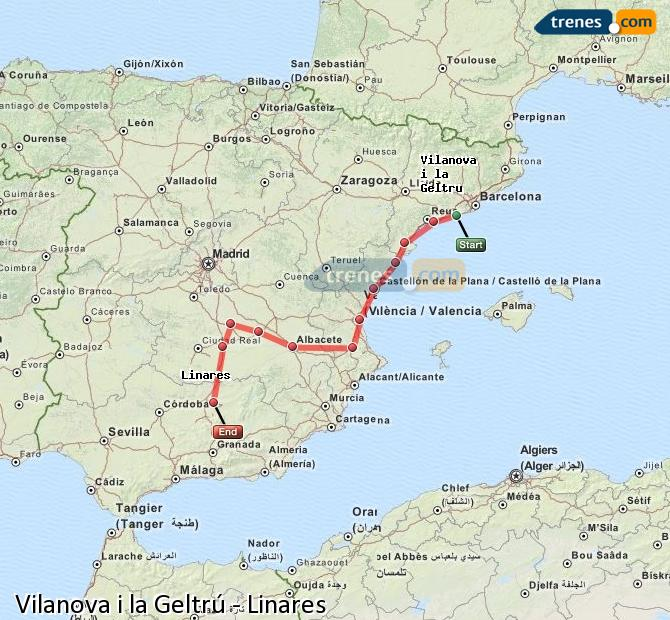 Enlarge map Trains Vilanova i la Geltrú to Linares