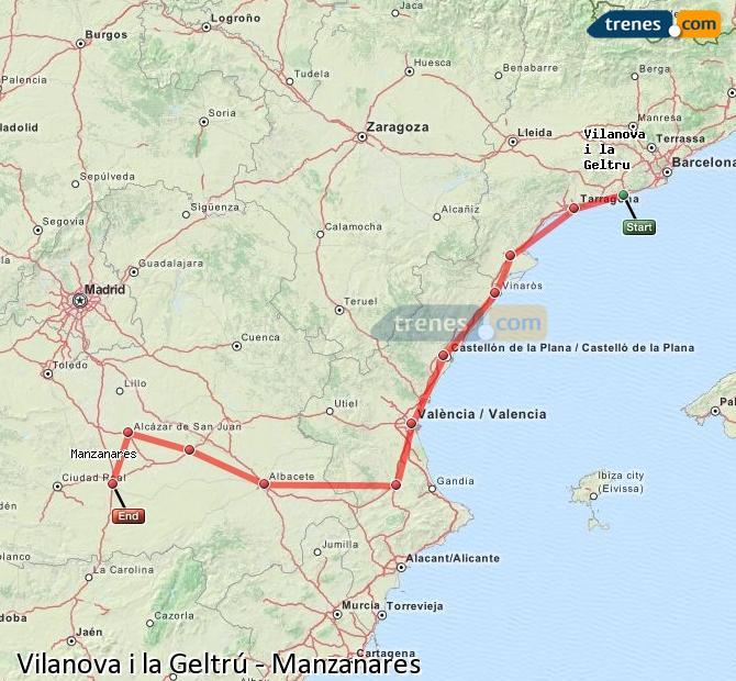 Karte vergrößern Züge Vilanova i la Geltrú Manzanares