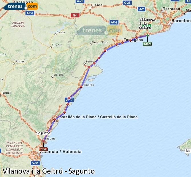 Ampliar mapa Trenes Vilanova i la Geltrú Sagunto