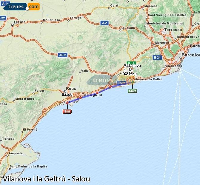 Karte vergrößern Züge Vilanova i la Geltrú Salou