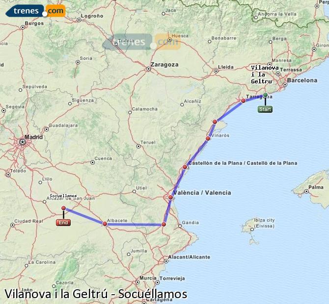 Ampliar mapa Trenes Vilanova i la Geltrú Socuéllamos