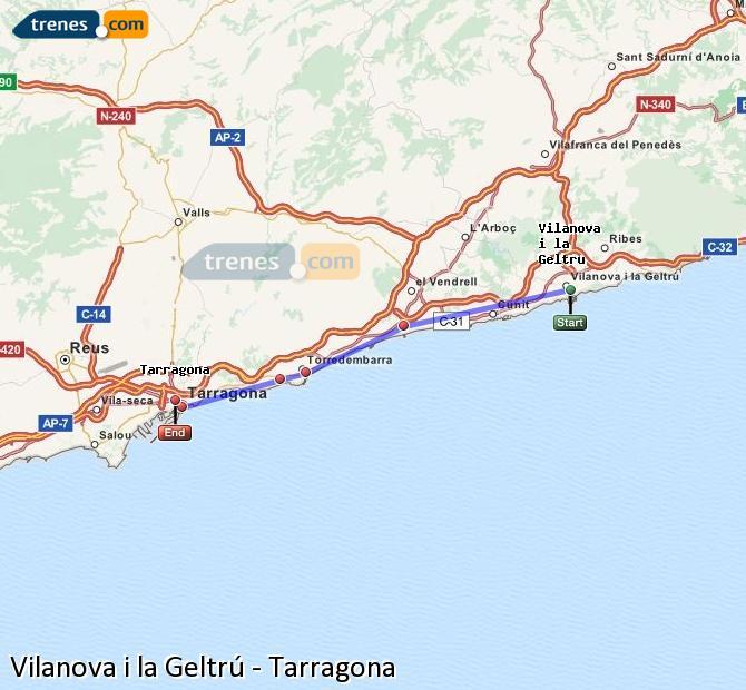 Ampliar mapa Comboios Vilanova i la Geltrú Tarragona