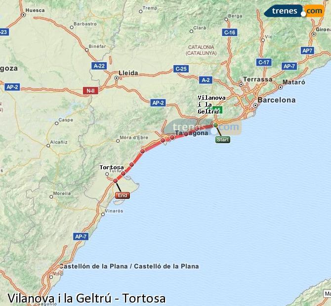 Agrandir la carte Trains Vilanova i la Geltrú Tortosa
